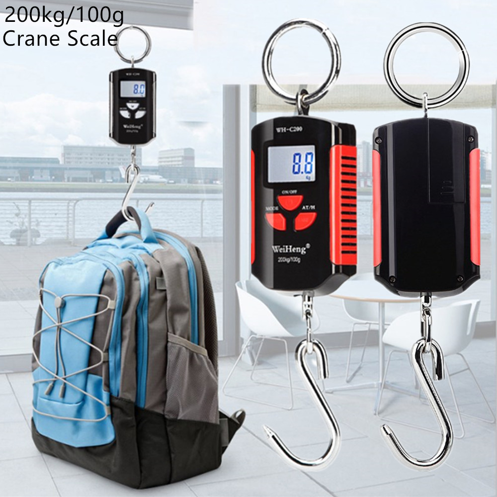 <font><b>200kg</b></font>/100g <font><b>Digital</b></font> Hook <font><b>Scale</b></font> Electronic Luggage <font><b>Scales</b></font> Mini Weighting Steelyard Fishing Hanging <font><b>Scale</b></font> Kitchen Weight Tool 30%OF image