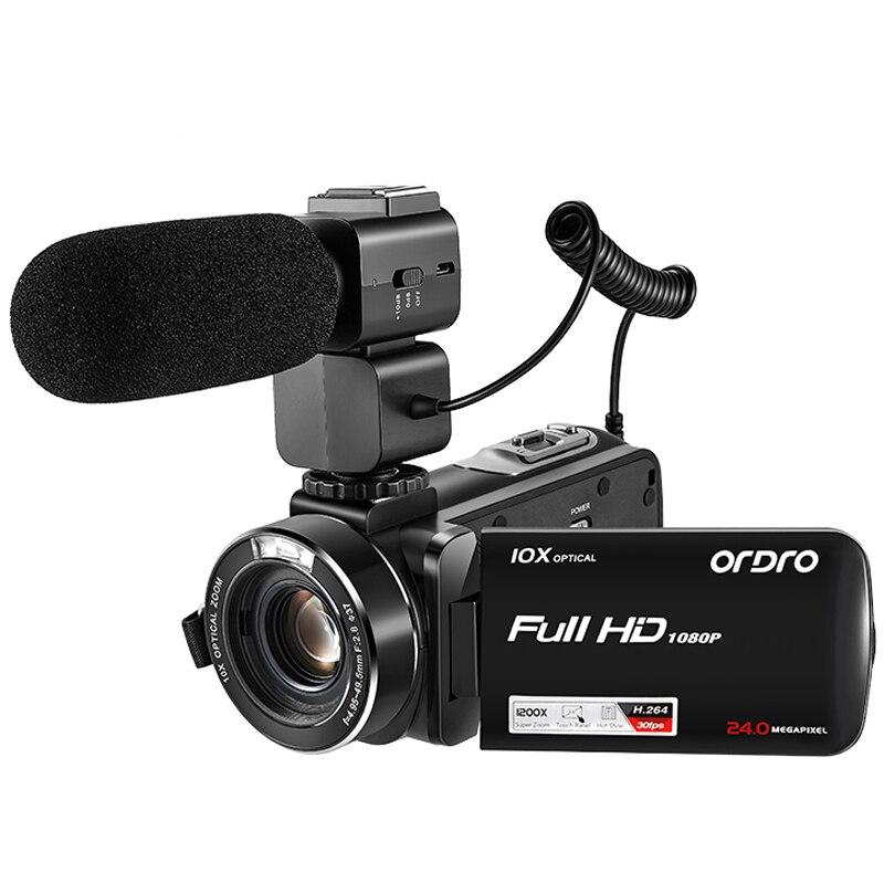 Caméra vidéo Full HD 1080P Ordro Z82 10X caméscope optique avec Microphone externe objectif grand Angle