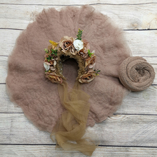 Hair Accessories Baby Girl Hat Lacework Headband+Handcraft Wool Felted Round Blanket +140*30cm Stretch Knit Wrap for Baby Shoot