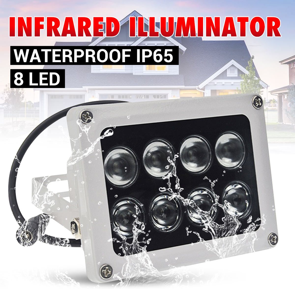 12V Infrared Light Lamp 8 LEDs IR Night Vision Wide Angle IP65 Waterproof Fill Light For CCTV Securiy Accessories