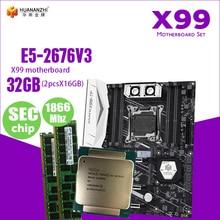 X99 anakart çift M.2 NVME yuvası desteği DDR3 DDR4 LGA2011 3 LGA 2011 Intel Xeon E5 2676 V3 32GB 16GB GB * 2PCS1866MHz bellek seti