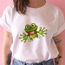 Белая футболка для женщин с изображением мультяшных персонажей