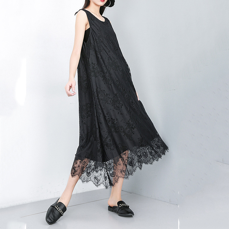 New Fashion Style Black Lace Split Joint Irregular Hem Temperament Dress Fashion Nova Clothing