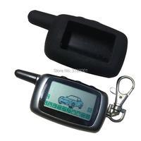 A9 lcd chave de controle remoto chaveiro + silicone caso chave para russo carro em dois sentidos sistema alarme automático starline a9 kgb FX-5 fx5 fx 5