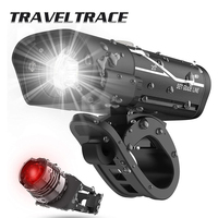 Juego de luces LED para bicicleta de montaña, luz trasera delantera y trasera, recargable vía USB, Lumen de batería