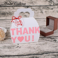 50pcs Pink thank you portable cassette Christmas items cake box wedding candy set biscuit box party handbag gift box