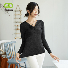 GOPLUS Shiny Lurex Knitted Womens Sweater Sexy Cross V Neck Long Sleeve Women Pullover 2019 Autumn Slim Pull Femme