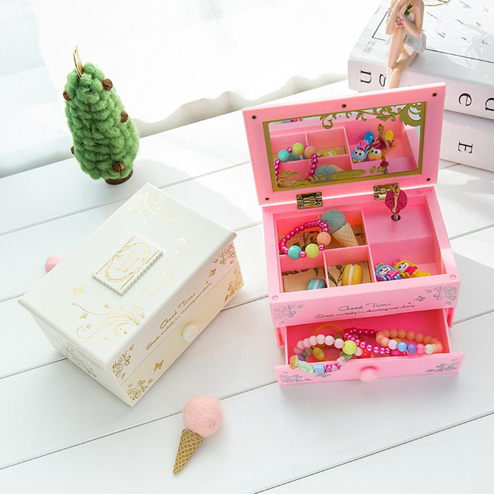 Jewelry Storage Box Organizer For Girl Woman Dancing Ballerina Girl Music Box Mirror Jewelry Storage Organizer Birthday Gift Wed