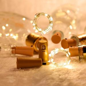 Image 2 - Wein Flasche Lichter Kupfer Draht Fee String Licht Warm Weiß Flasche Stopper Atmosphäre Lampe für Weihnachten Baum Hochzeit Party
