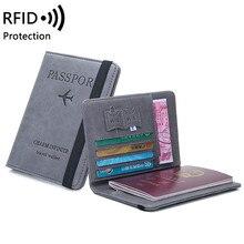 Funda vintage para pasaporte en cuero Pu anti RFID para hombre y mujer, porta tarjetas multifuncional, protectores de cuero sintético tipo billetera, accesorios de viaje
