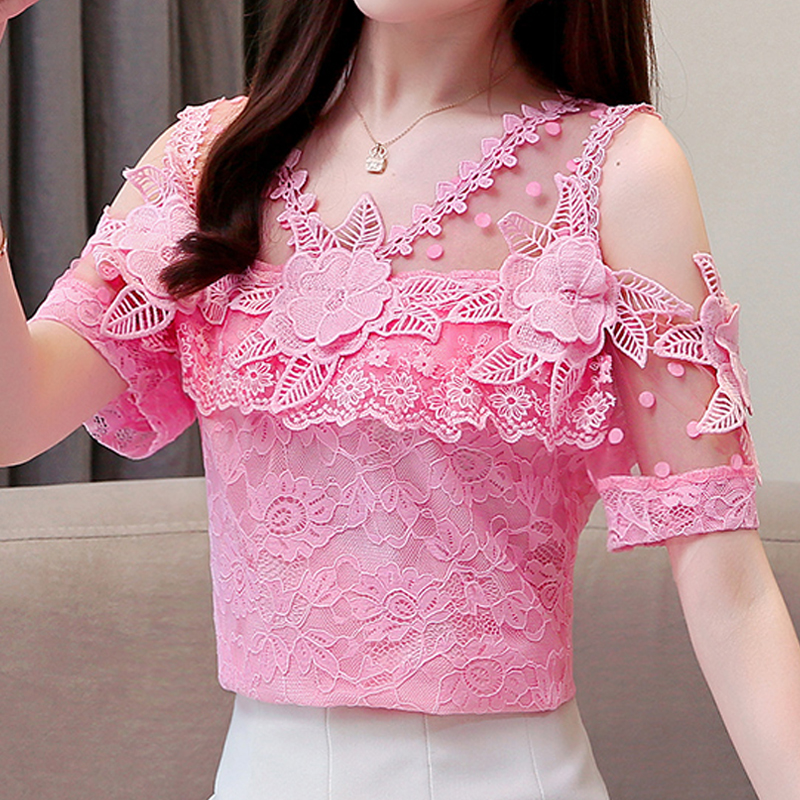 Women's Clothing 2019 Summer New Short-Sleeve Lace Pink Women's Tops Flower Hollow Sexy Chiffon Lace Ruffle Blouses Shirts 680A5