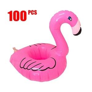 Anillo de natación inflable flotante para bebé, soporte para taza de flamenco, soportes para bebidas de piscina, juguetes de agua, 100 piezas