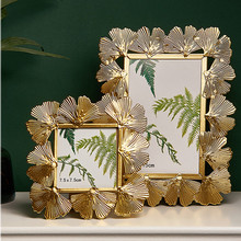 Modern Nordic Gold Ginkgo Metal Frames Painting Picture Poster Frame DIY Wall Photo Frame Vintage Baby Family Home Decoration modern wooden picture frame wooden wall decoration painting display box diy handmade photo frame home decor