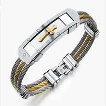 Men Jewelry three row Weave Trendy cross bracelet so172