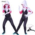Костюм Гвен Стейси, косплей-маска паука Гвен, костюм зентай, комбинезон, комбинезон, костюмы на Хэллоуин для девочек и женщин