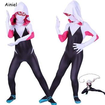 Gwen Stacy Costume Spider Cosplay Mask Zentai Suit Bodysuit Jumpsuit Girl Halloween Costumes Girls Women