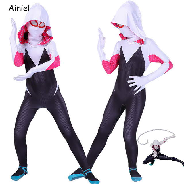 Gwen Stacy Costume Spider Gwen Cosplay Mask Zentai Suit Bodysuit Jumpsuit Spider Girl Halloween Costumes Girls Women