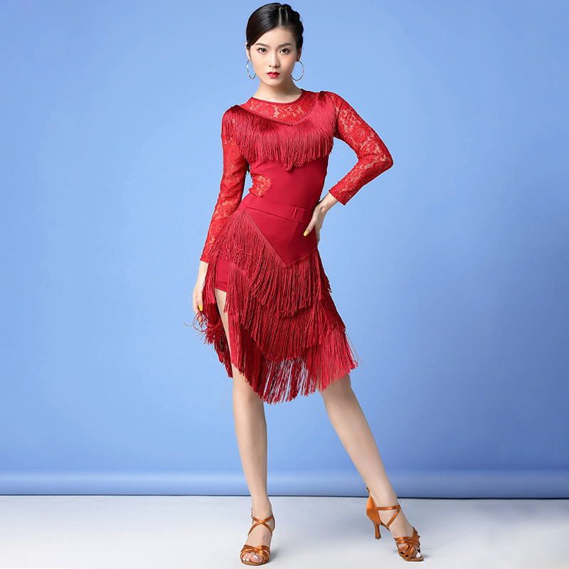 New Women Dance Clothes Salsa Samba Wear Long Sleeves Spandex 2 Pieces Fringes Latin Dresses Top And Short Skirt