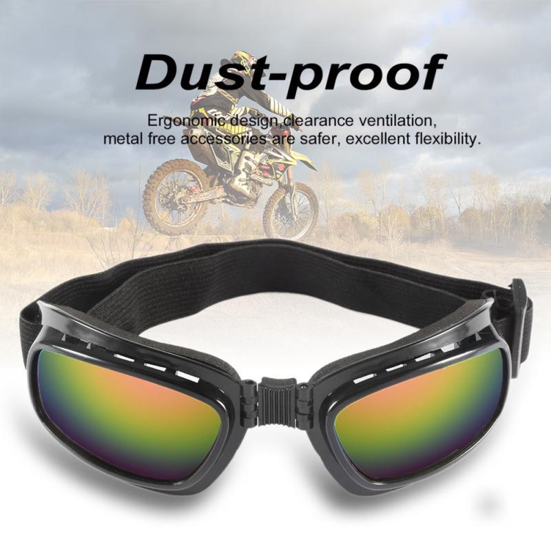 1x katlanır çerçeve Retro cam motosiklet gözlük rüzgar geçirmez kayak gözlüğü Off Road yarış gözlük motosiklet ekipmanları