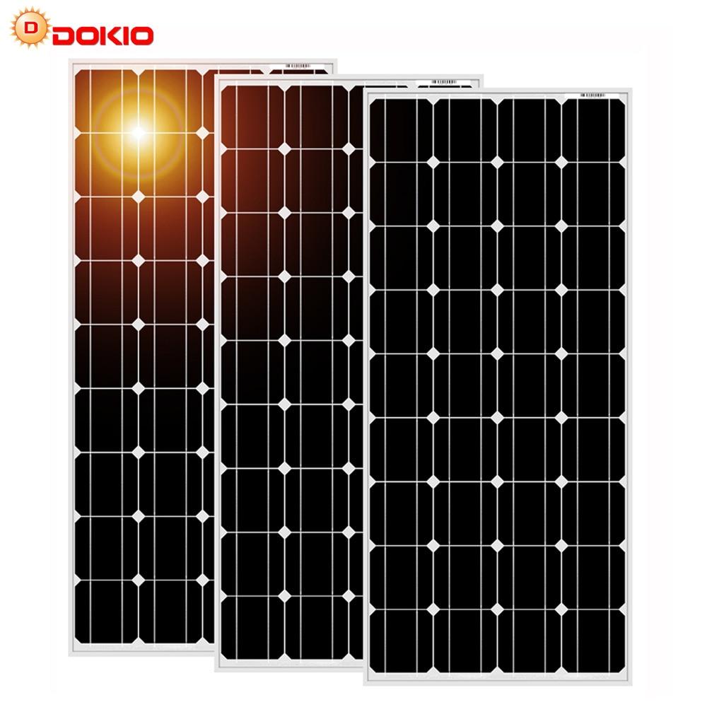 Dokio 100w Panel Solar de vidrio templado monocristalino para el hogar resistente al agua contra granizo pequeño 25 años de vida útil alta calidad
