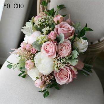 YO CHO Da Cerimonia Nuziale Della Sposa Bouquet Fatti A Mano Rosa Della Seta Artificiale Respiro Del Bambino Fiore Rosa Bianco Di Lusso Bouquet Forniture Di Nozze