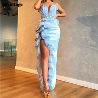 Sevintage Beaded High Split Long Evening Dresses Mermaid Tiered Pleats Prom Gowns Formal Women Special Occasion Dresses 2021