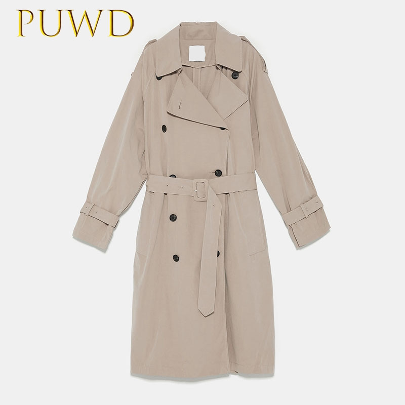 PUWD 2019 Fashion   trench   coat with middle and long style in women's dress buttons
