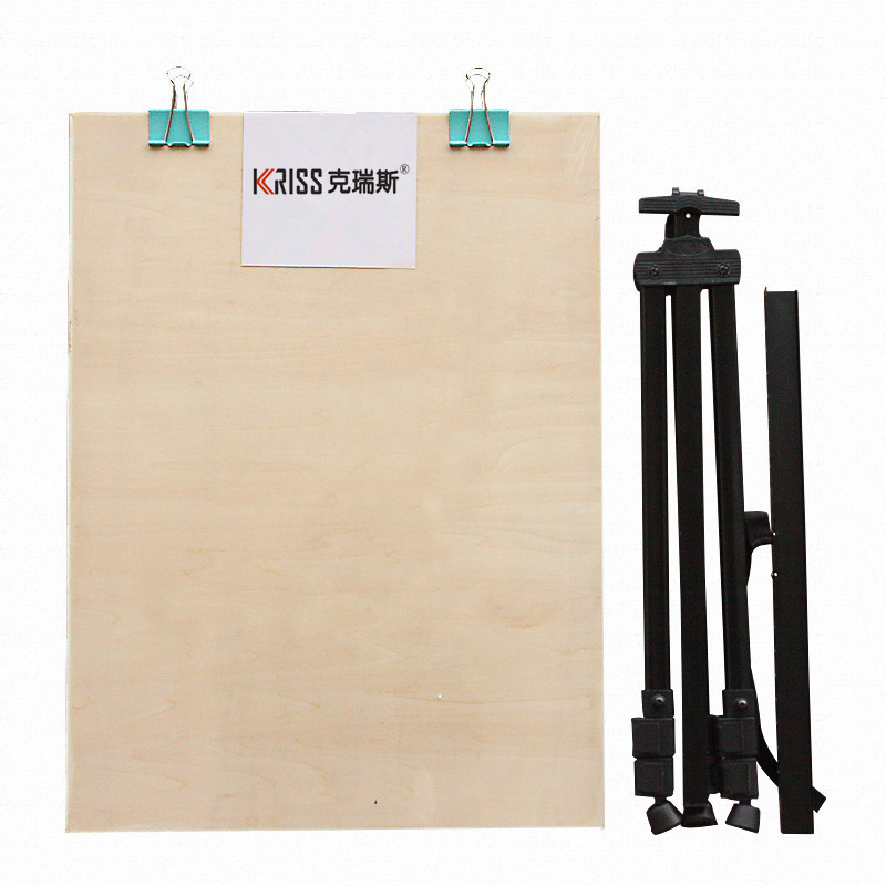 Criusja Sketch Easel Drawing Board Set, Foldable Black Easel + 4K Drawing Board, Triangular Portable Holder