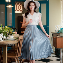 Dabuwawa New Woman Blue Pleated Over-knee Skirts Summer Solid Swing Party Date D18BSK018