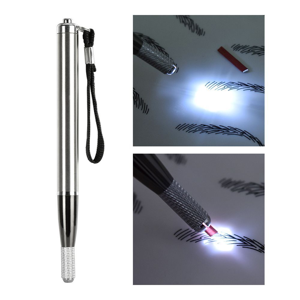 3D Microblading LED Light Eyebrow Tattoo Pen Multifunction Needle Blade Manual Tattoo Machine Permanent Makeup Eyebrow Munsu Teb