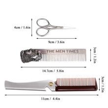 Beard Scissors Comb Beard Trimmer Shaping Set Sex Man Gentleman Beard Foldable Beard Comb Shaving Hair Molding Gift for Men