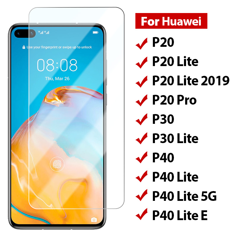 Screen Protector Protective Glass for Huawei P30 Lite P20 Pro Tempered Glass on Huawei P40 Lite 5G E 2019 9H HD Toughed Film(China)