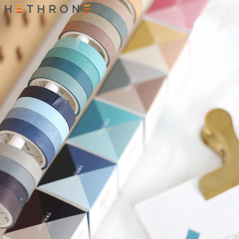 Hethrone 4pcs Simple Solid Color DIY Decoration Washi Tape Scrapbooking Masking Tape Loli Handbooks Stickers Tape Prettify Suppl