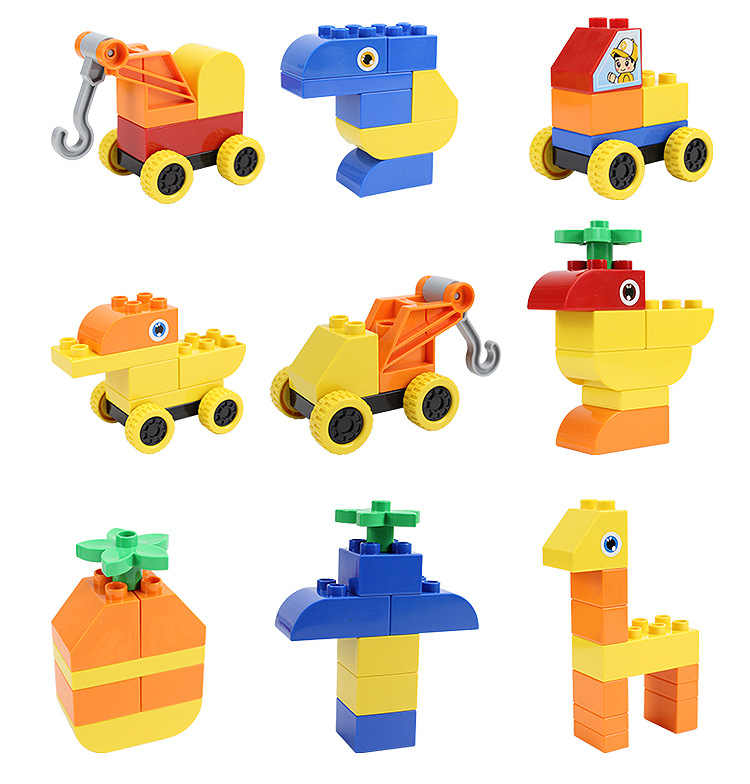 50-235 adet büyük boy yapı taşları renkli toplu tuğla araba hayvan modeli öğretici oyuncaklar çocuk hediyeler için Legoingys Duploed