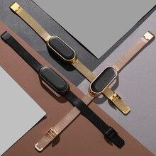 حزام ل شاومي Mi Band 3 4 5 المعادن حزام الساعات Correa Milanese معصمه سوار الفولاذ المقاوم للصدأ المعصم براميل استبدال المسمار