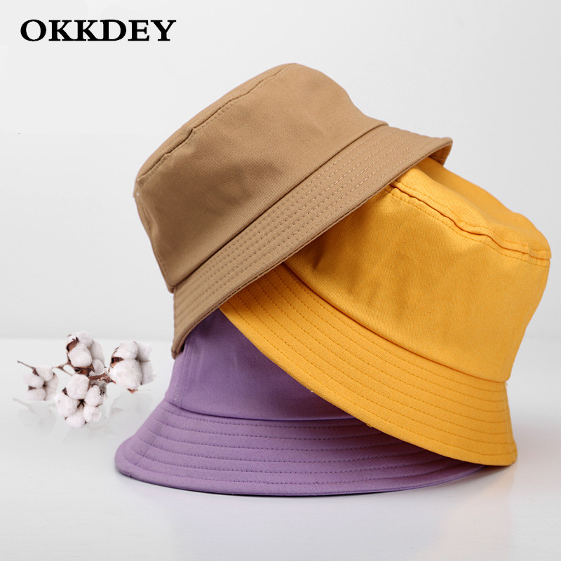 Unisex  Summer Foldable Bucket Hat Woman Solid Color Hip Hop Wide Brim Beach UV Protection Round Top Sunscreen Fisherman Cap