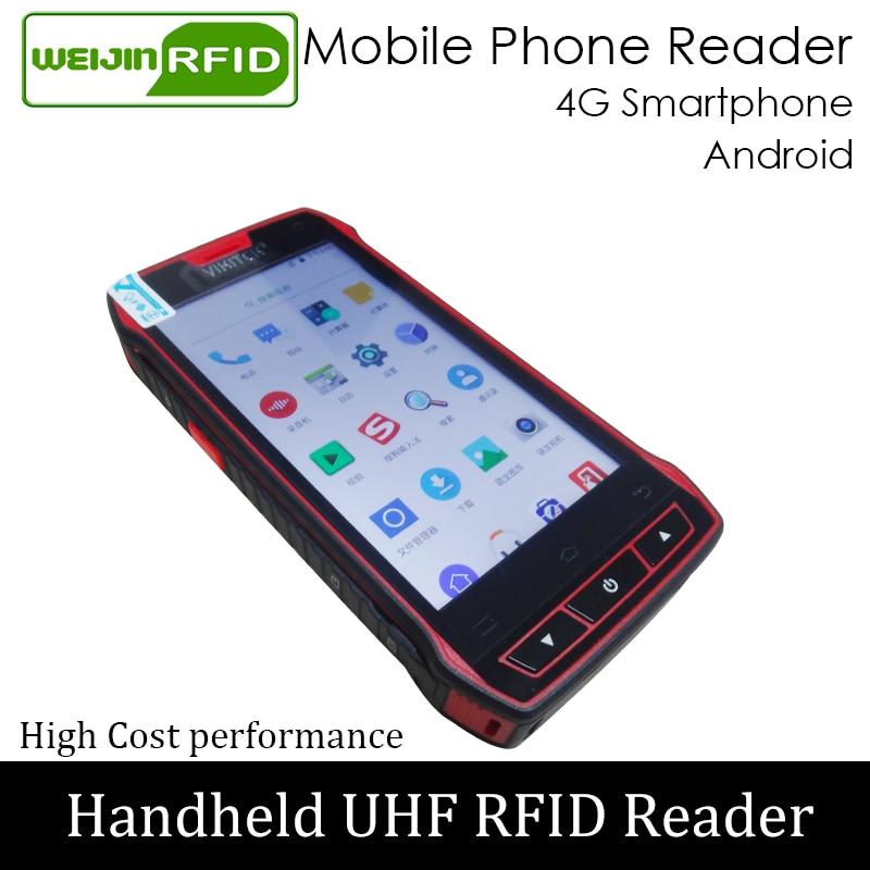 UHF Handheld RFID Reader 4G Smartphone Portable Encoder EPC C1G2 ISO18000 6c Mobile Phone Chip Tag Scanner Writer Copier