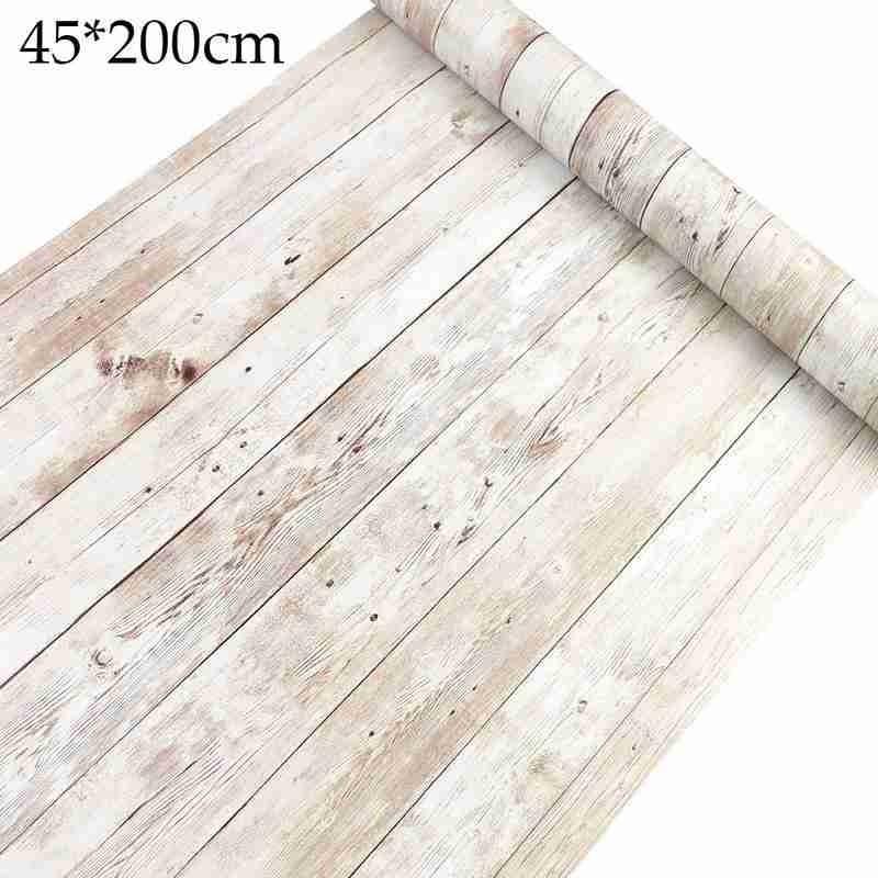 Self Adhesive Old Wood Grain Wallpaper Waterproof Old Furniture Stickers Wooden Door Wardrobe Desktop Pvc Wall Papers 45 200cm Wallpapers Aliexpress