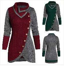 Autumn Winter Coat Women 2019 Casual Vintage Patchwork Cloak Plus Size Coats Female Elegant Warm Black Long Coat casaco feminino 21