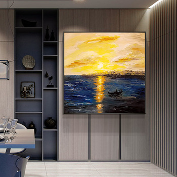 Hand-painted Sunrise Abstract Painting Decorative Painting The Living Room Entrance Study Painting Custom Wall Modern Minimalist
