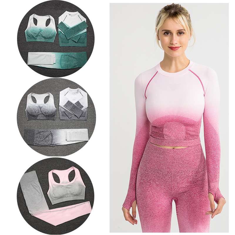 Women Sportswear Leggings Bra Set 3PCS Seamless Workout Bra Leggings And Top Long-sleeved Exercise Gym Suit Dropship