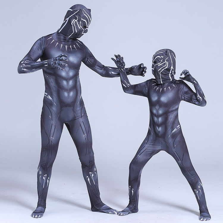 Kids Adult Black Panther Cosplay Costume Civil War Cosplay Superhero Halloween Party Jumpsuit Fancy Zentai Mask image