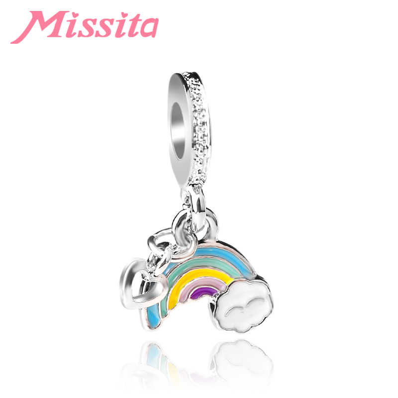 MISSITA Women Rainbow Pendant Charms fit Pandora Bracelets & Necklaces for Jewelry Making Ladies Jewelry Accessories