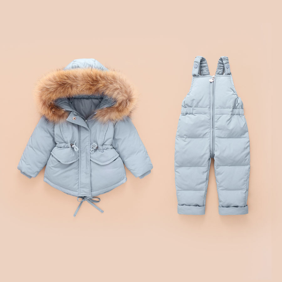Winter Children Clothing Set Down Jacket For Girls Boys Coat + Overalls Warm Kids Hooded Snowsuit Clothes Thicken Ski Snow Suit