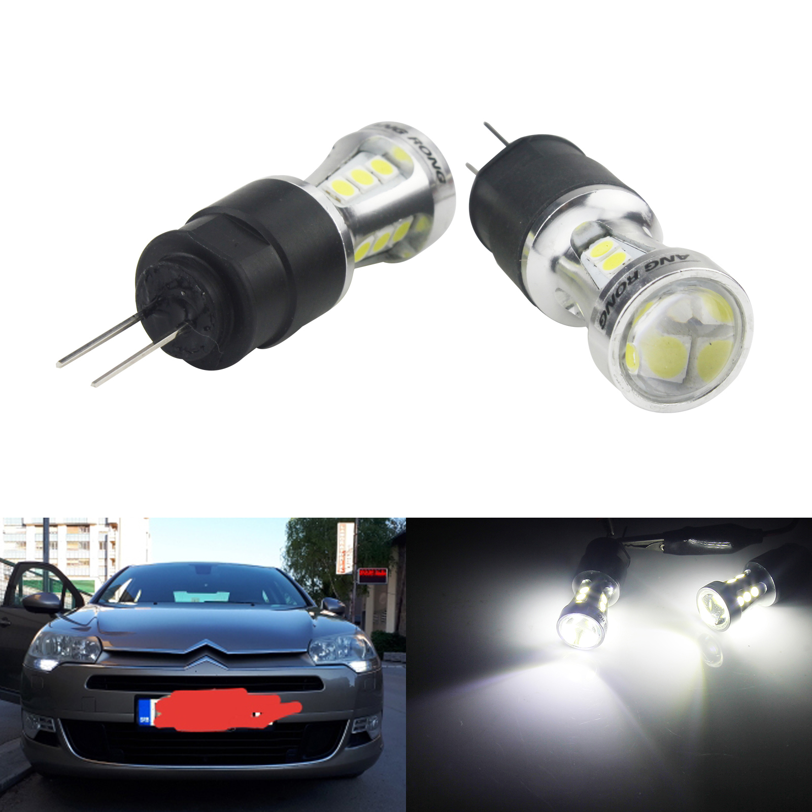 2x G4 HP24W Bulbs 18 SMD White <font><b>LED</b></font> Side Daytime <font><b>Light</b></font> DRL For Citron & <font><b>Peugeot</b></font> image