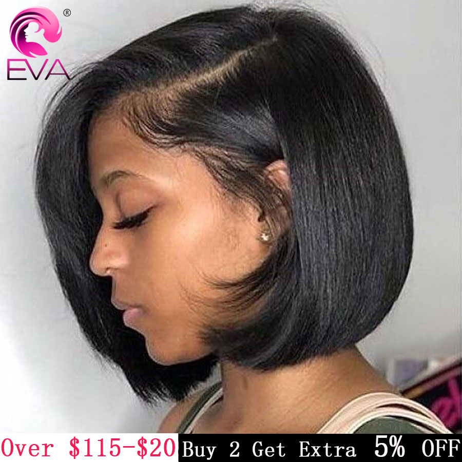 Eva Short Lace Front Human Hair Wigs Pre Plucked With Baby Hair Brazilian Straight Bob Lace Front Wigs For Black Women Remy Hair