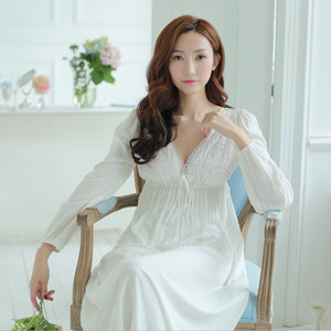 Image 3 - Autumn Vintage Nightgowns V neck Ladies Dresses Princess White Sexy Sleepwear Solid Lace Home Dress Comfortable Nightdress #H13