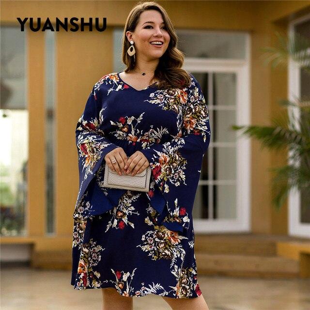 YUANSHU moda çiçek baskı artı boyutu elbise kadın V boyun Flare kol yüksek bel elbise parti büyük boy kadın kıyafetleri XL 4XL