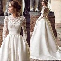 White Ivory Stain Wedding Dress with Pockets A Line Bride Wedding Gown Long Sleeves Lace Applique Bridal Dress vestido de novia