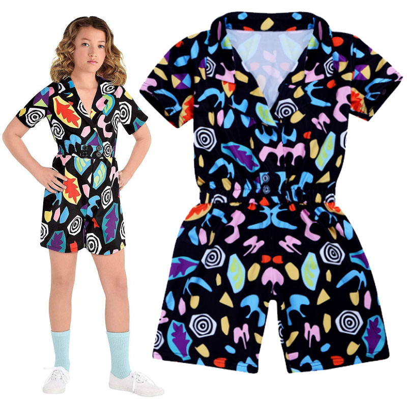 Strange Story Baby Girl Stranger Things 11 Costume Season  Cosplay Jumpsuit Party Halloween Short Sleeve Child Christmas Costume